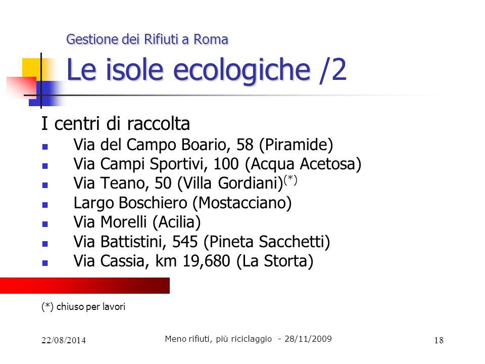 Gestione dei Rifiuti a Roma Le isole ecologiche /2