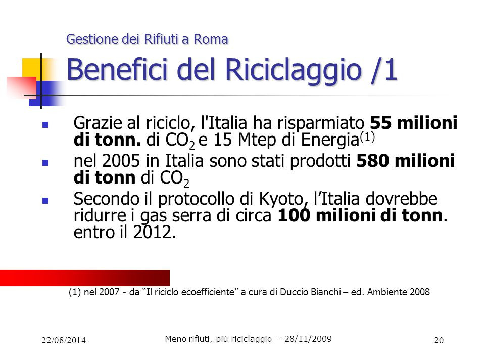 Gestione dei Rifiuti a Roma Benefici del Riciclaggio /1