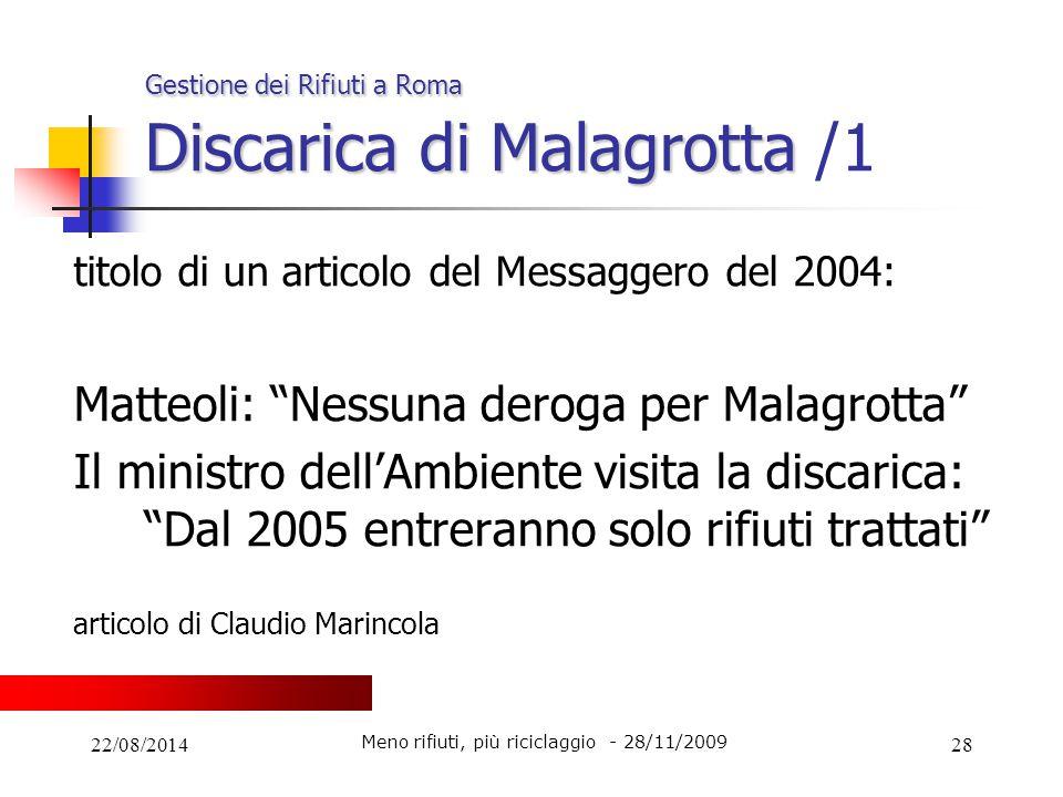 Gestione dei Rifiuti a Roma Discarica di Malagrotta /1