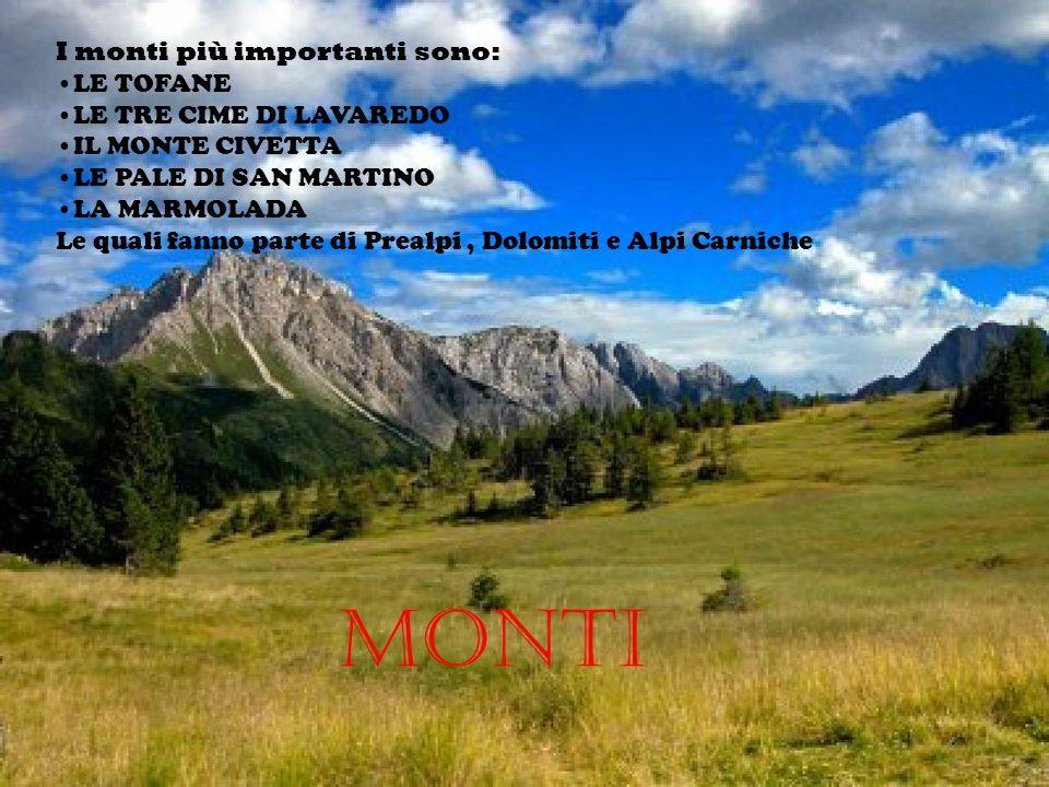 Monti I monti più importanti sono: LE TOFANE LE TRE CIME DI LAVAREDO