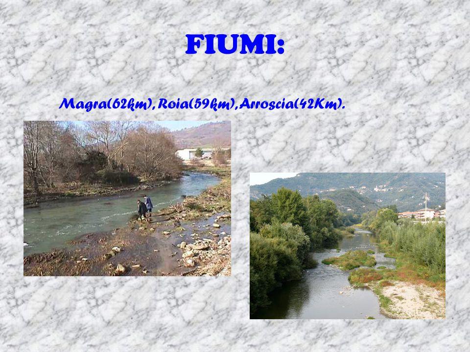 FIUMI: Magra(62km), Roia(59km), Arroscia(42Km).