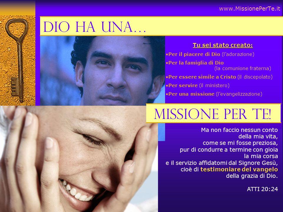Dio ha una… Missione per te! www.MissionePerTe.it Tu sei stato creato: