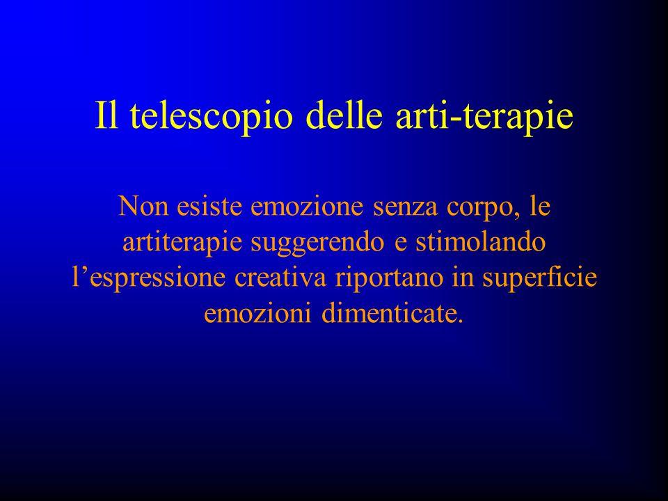Il telescopio delle arti-terapie Non esiste emozione senza corpo, le artiterapie suggerendo e stimolando l'espressione creativa riportano in superficie emozioni dimenticate.