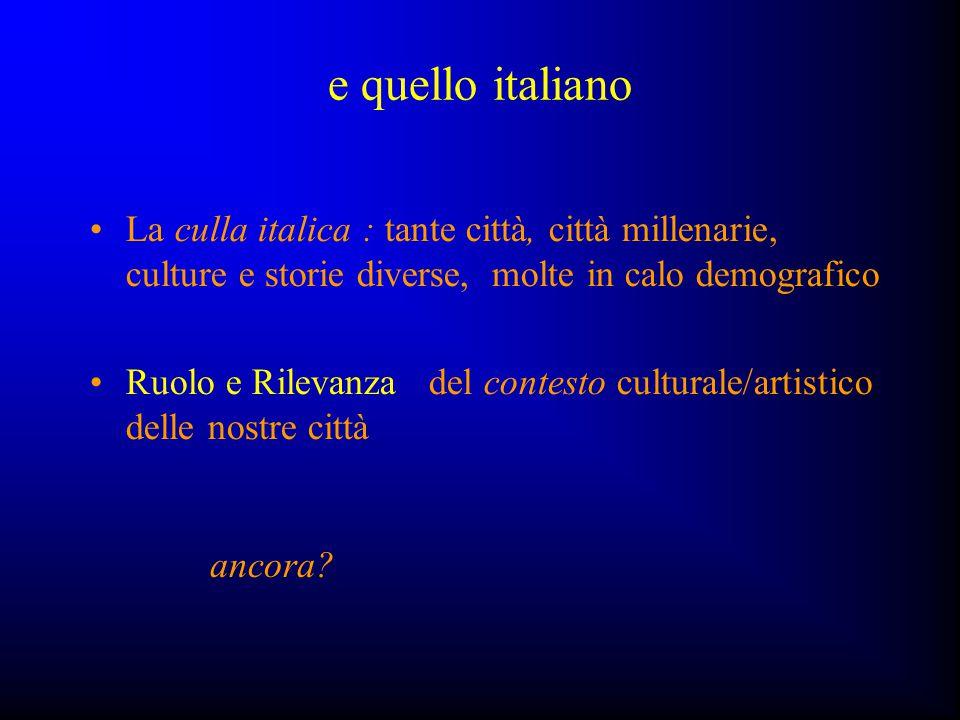 e quello italiano La culla italica : tante città, città millenarie, culture e storie diverse, molte in calo demografico.