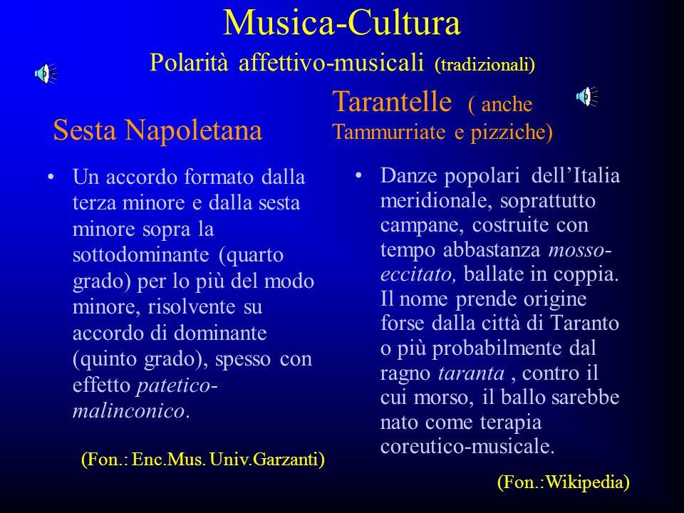 Musica-Cultura Polarità affettivo-musicali (tradizionali)
