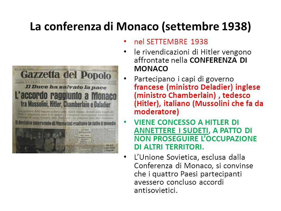 La conferenza di Monaco (settembre 1938)