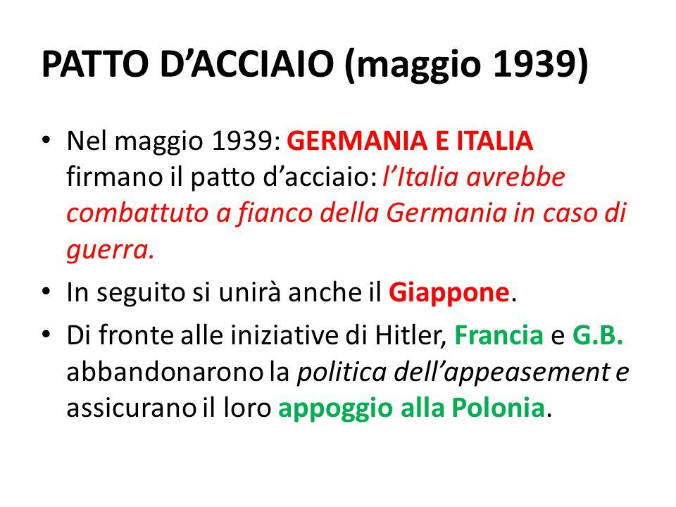 PATTO D'ACCIAIO (maggio 1939)