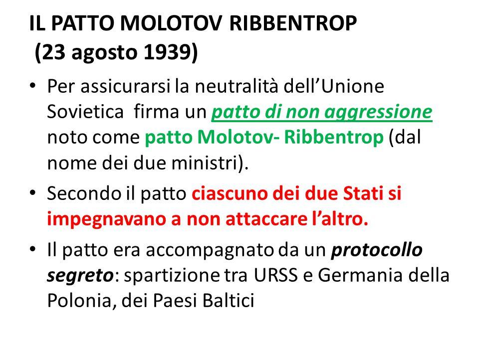 IL PATTO MOLOTOV RIBBENTROP (23 agosto 1939)