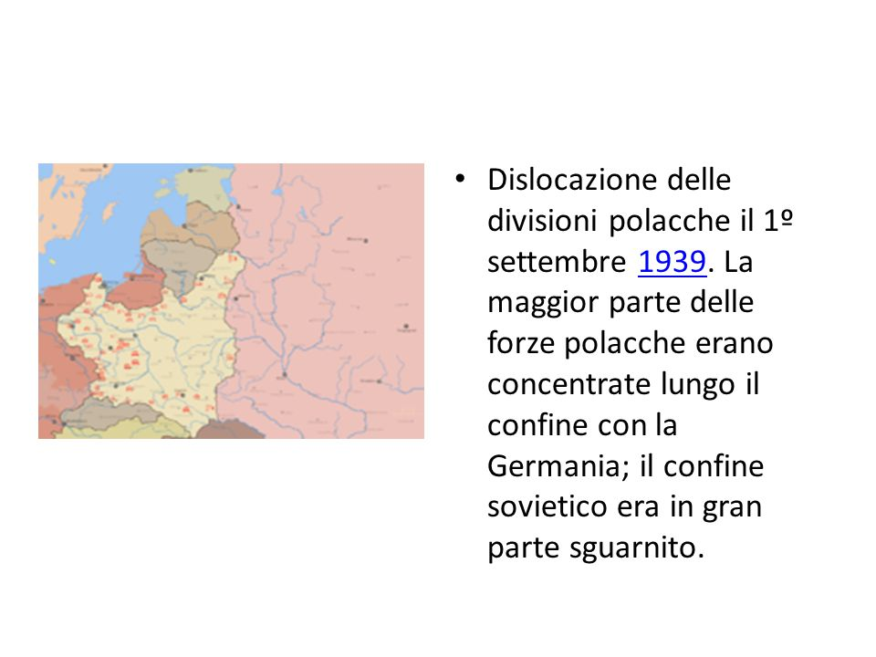 Dislocazione delle divisioni polacche il 1º settembre 1939