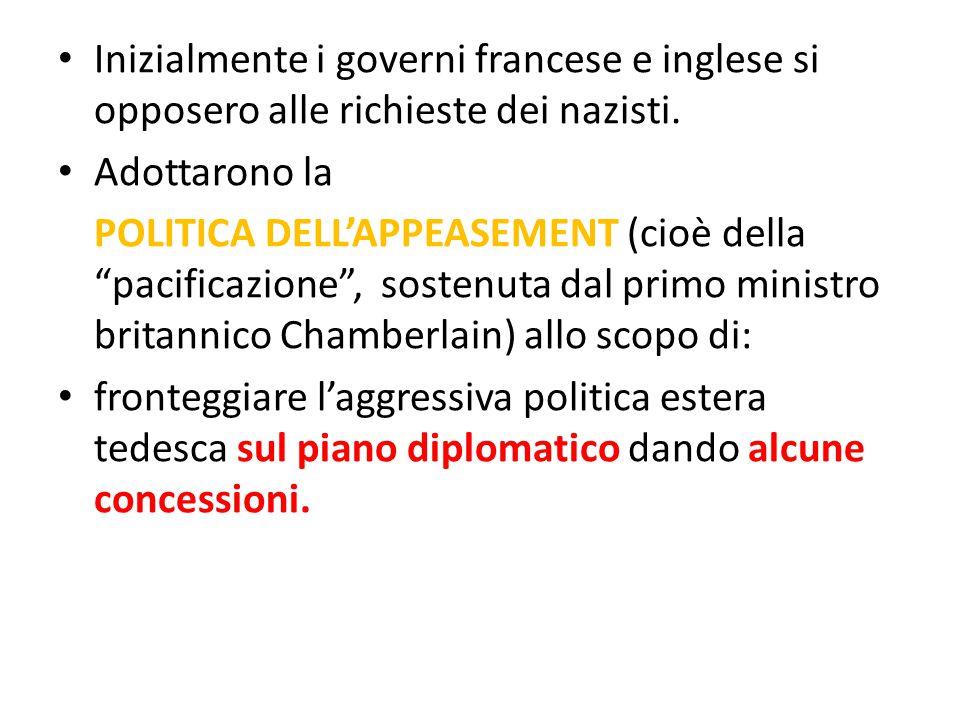 Inizialmente i governi francese e inglese si opposero alle richieste dei nazisti.