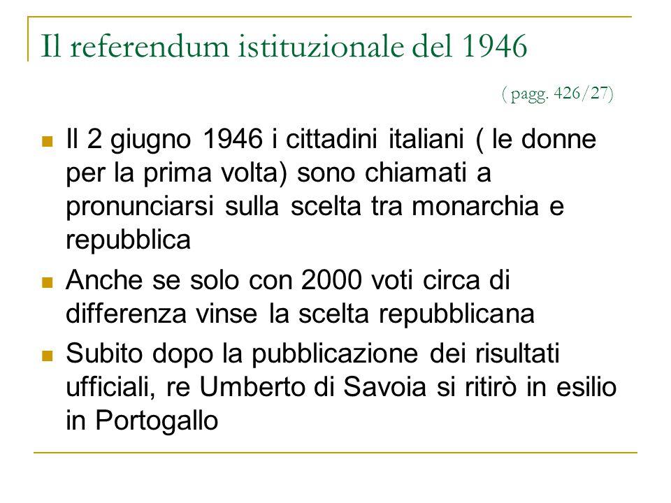 Il referendum istituzionale del 1946 ( pagg. 426/27)