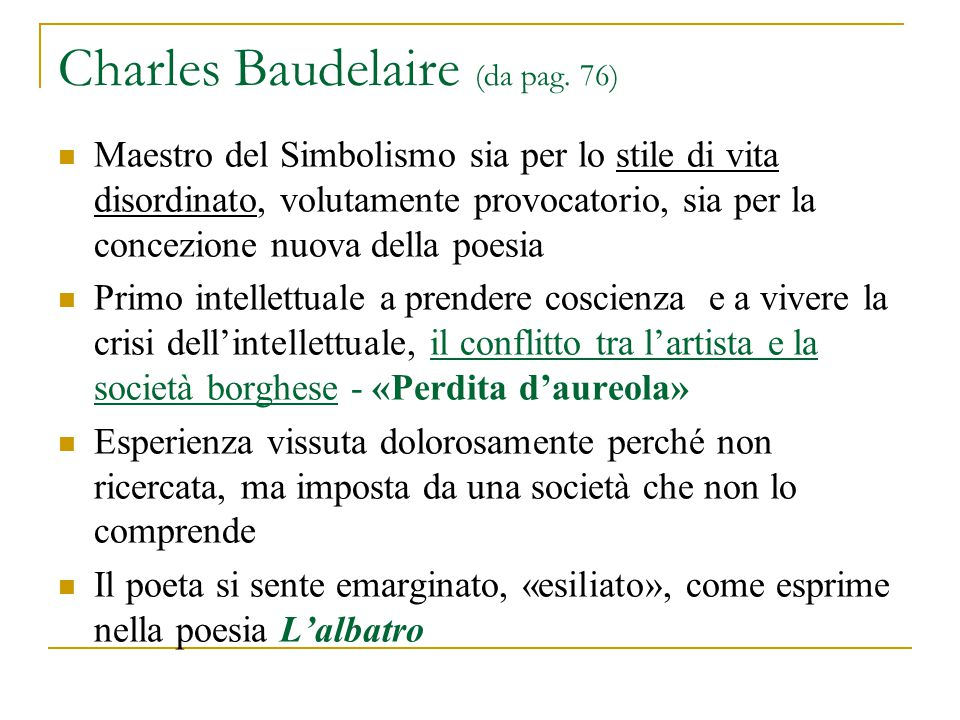 Charles Baudelaire (da pag. 76)