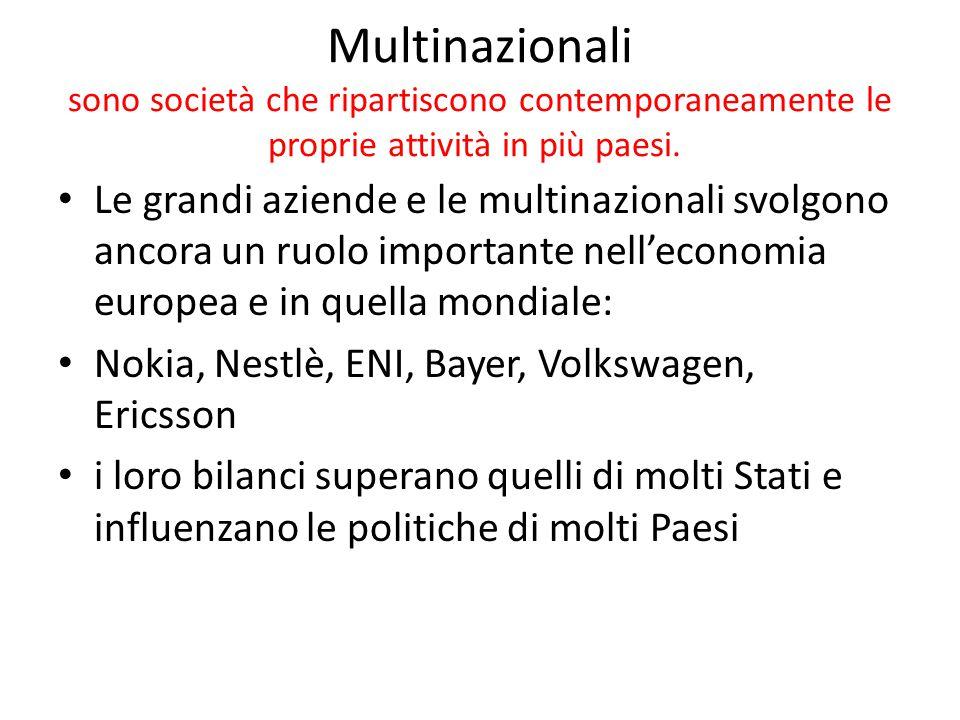 Multinazionali sono società che ripartiscono contemporaneamente le proprie attività in più paesi.