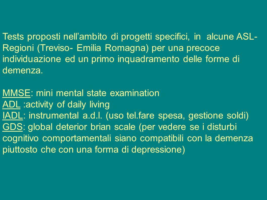 Tests proposti nell'ambito di progetti specifici, in alcune ASL-Regioni (Treviso- Emilia Romagna) per una precoce individuazione ed un primo inquadramento delle forme di demenza.