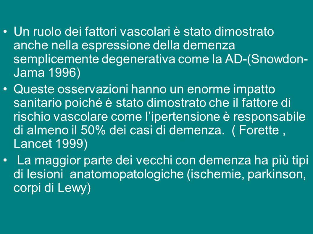 Un ruolo dei fattori vascolari è stato dimostrato anche nella espressione della demenza semplicemente degenerativa come la AD-(Snowdon- Jama 1996)