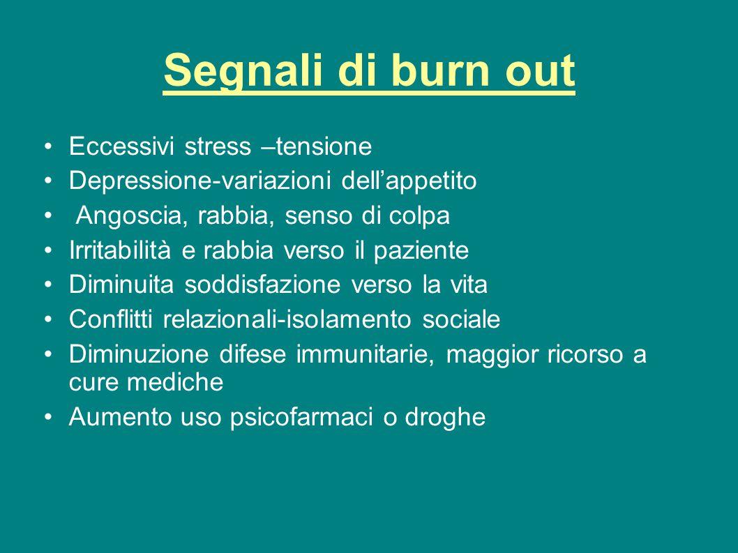 Segnali di burn out Eccessivi stress –tensione