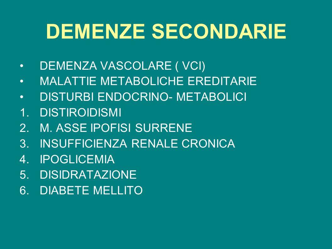 DEMENZE SECONDARIE DEMENZA VASCOLARE ( VCI)