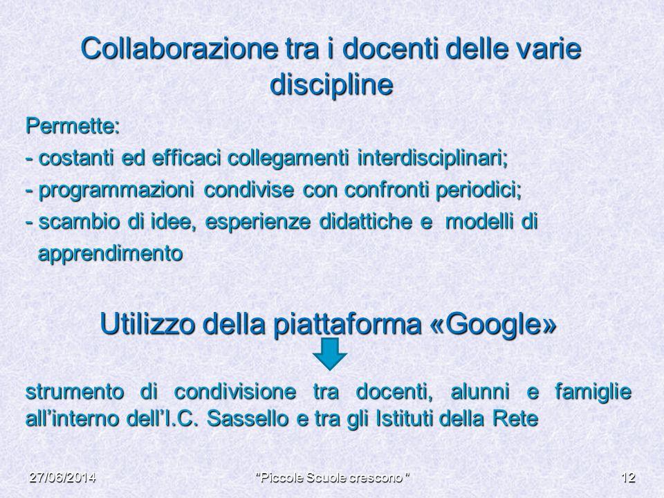 Collaborazione tra i docenti delle varie discipline