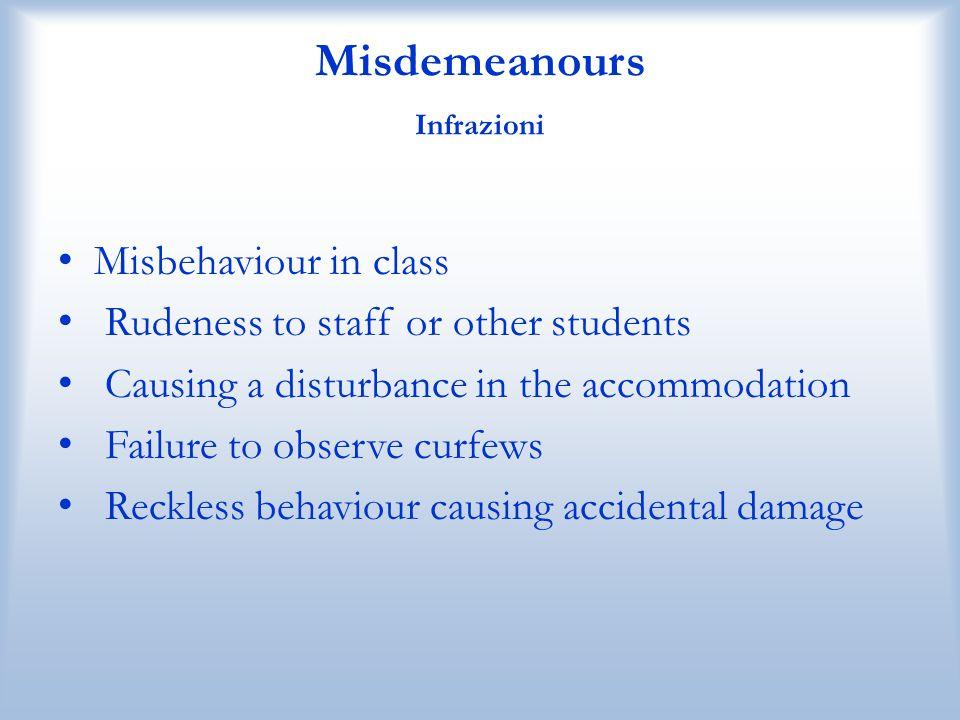 Misdemeanours Infrazioni