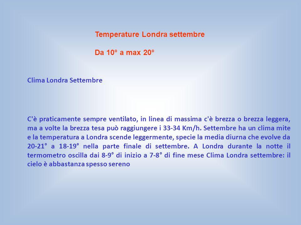 Temperature Londra settembre