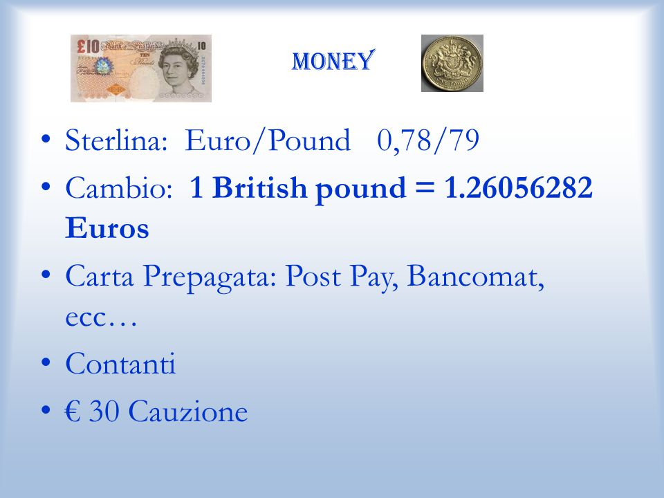 Sterlina: Euro/Pound 0,78/79