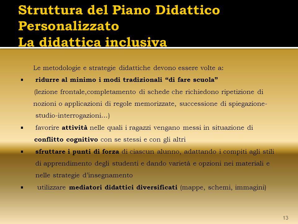 Struttura del Piano Didattico Personalizzato La didattica inclusiva