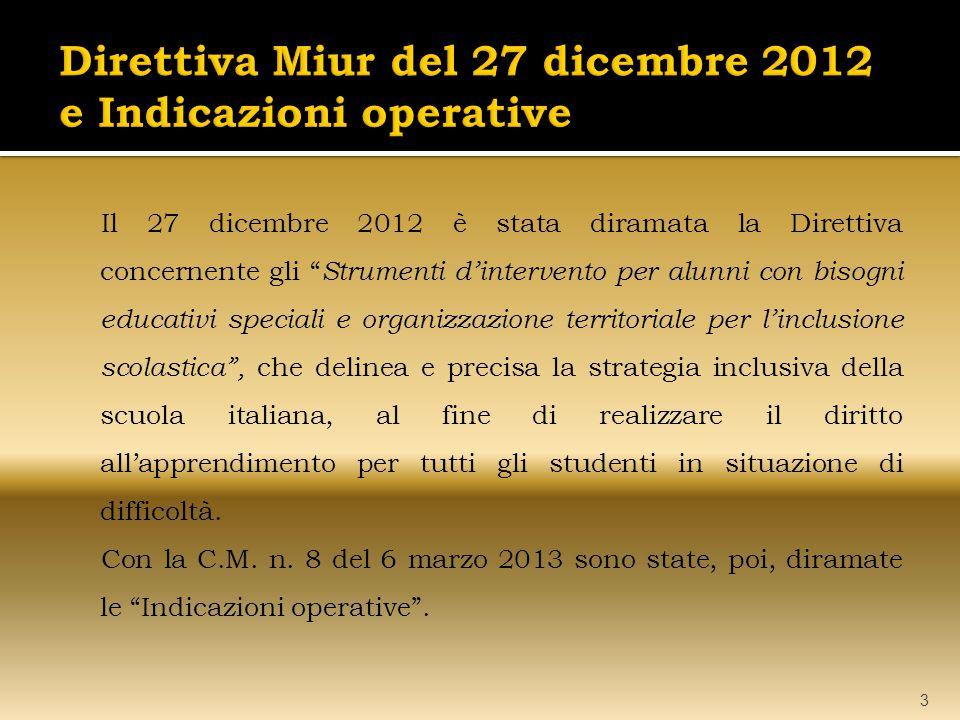 Direttiva Miur del 27 dicembre 2012 e Indicazioni operative
