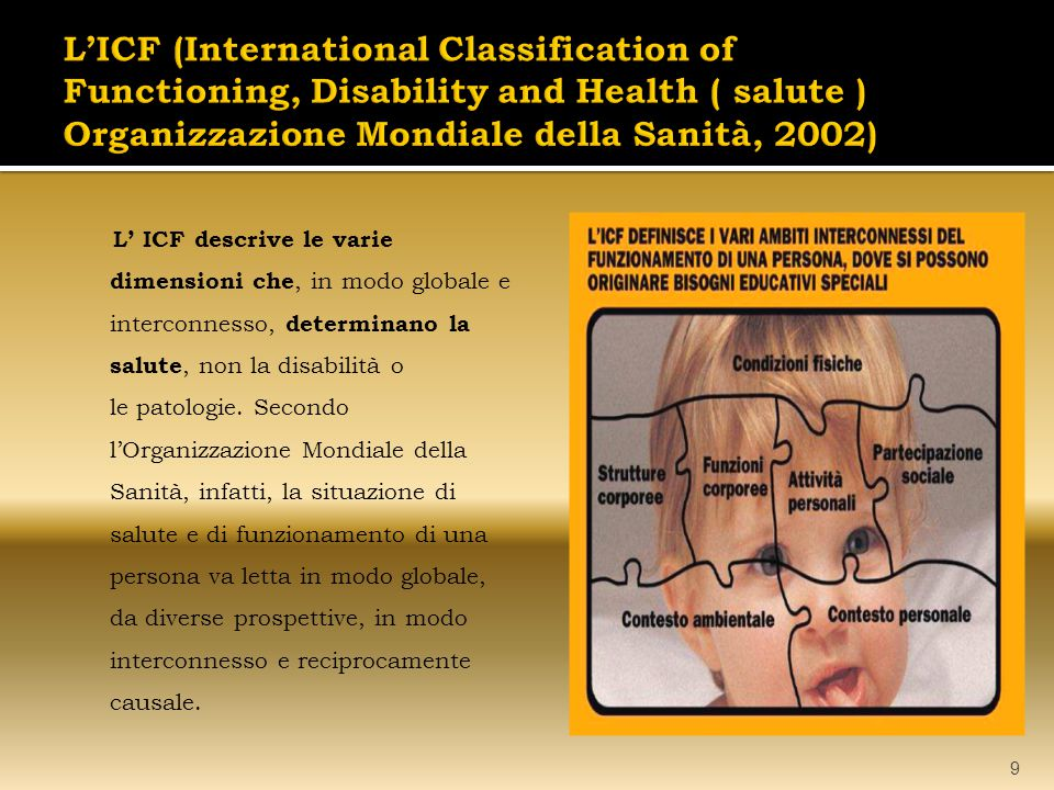 L'ICF (International Classification of Functioning, Disability and Health ( salute ) Organizzazione Mondiale della Sanità, 2002)