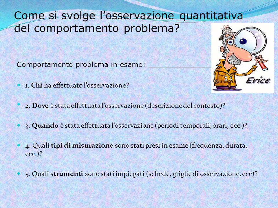 Come si svolge l'osservazione quantitativa del comportamento problema