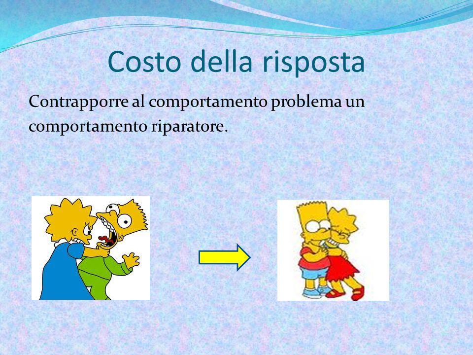 Costo della risposta Contrapporre al comportamento problema un comportamento riparatore.