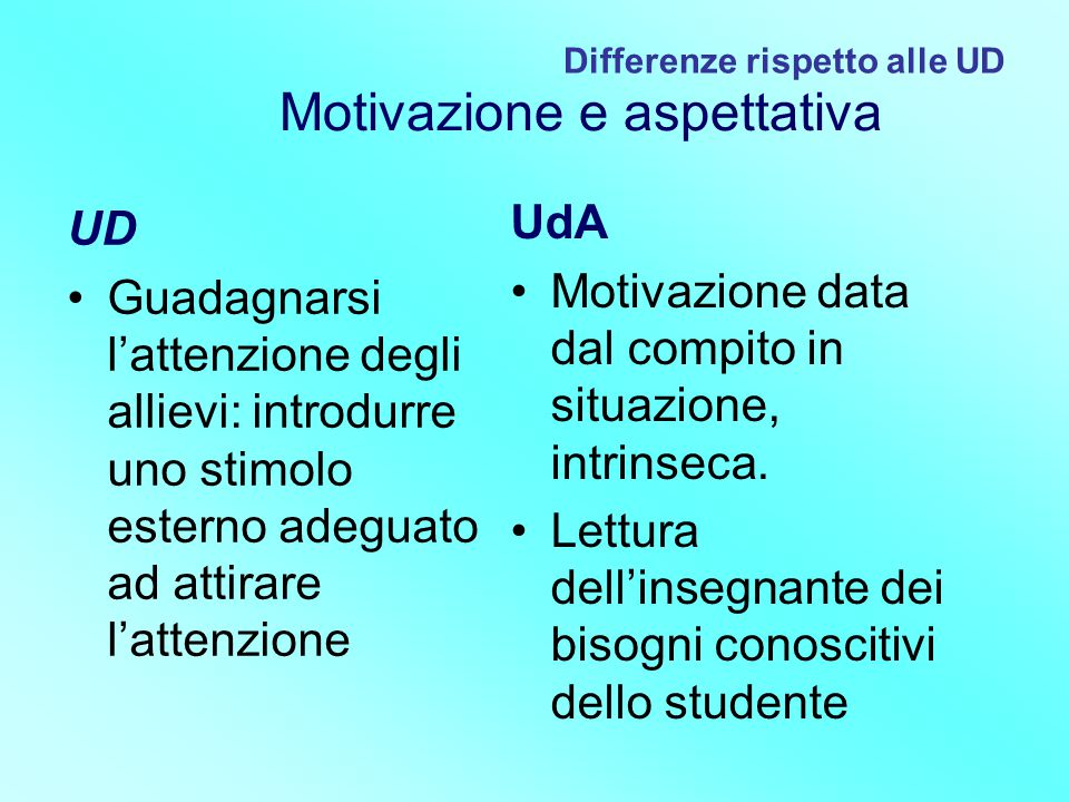 Differenze rispetto alle UD