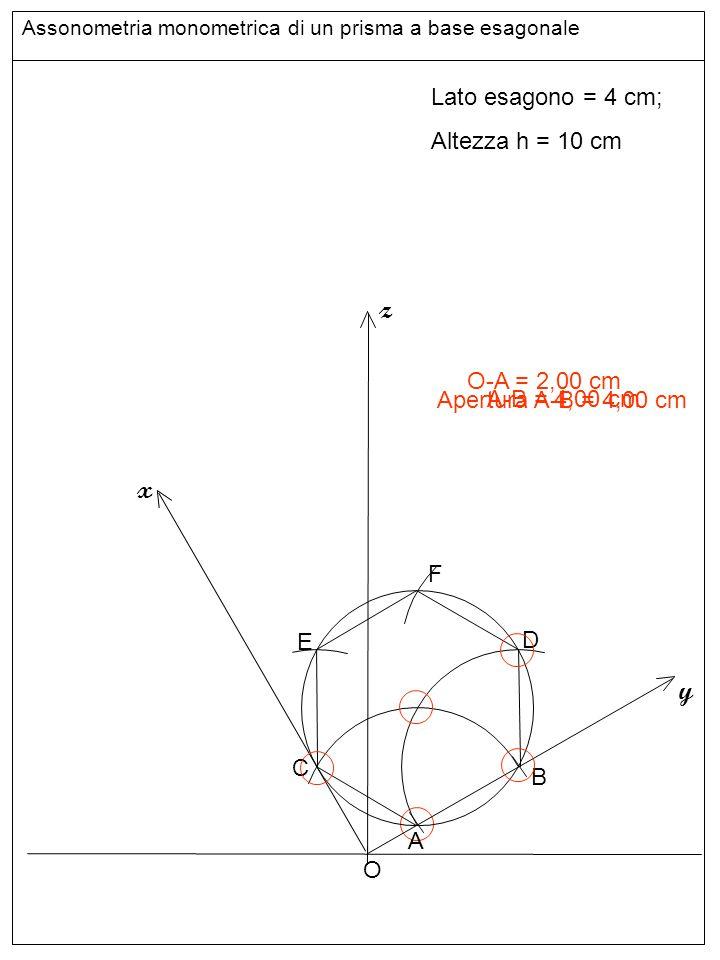 Base inferiore z x y Lato esagono = 4 cm; Altezza h = 10 cm