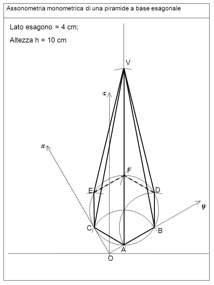 linee z x y Lato esagono = 4 cm; Altezza h = 10 cm V F E D C B A O