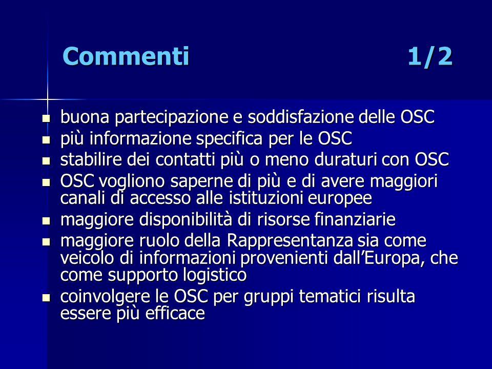 Commenti 1/2 buona partecipazione e soddisfazione delle OSC