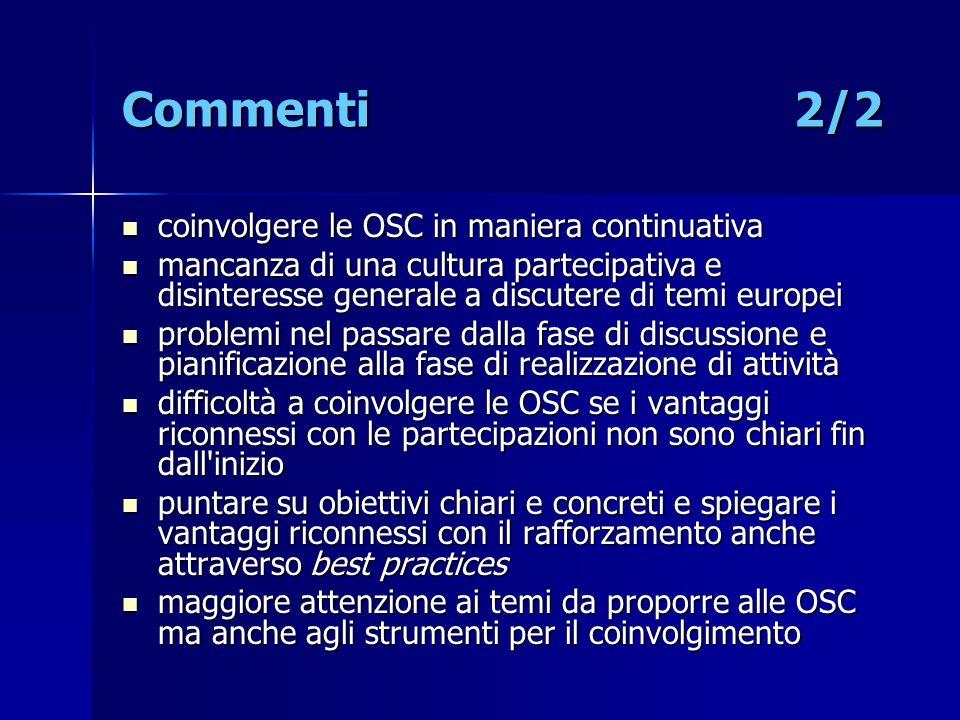 Commenti 2/2 coinvolgere le OSC in maniera continuativa