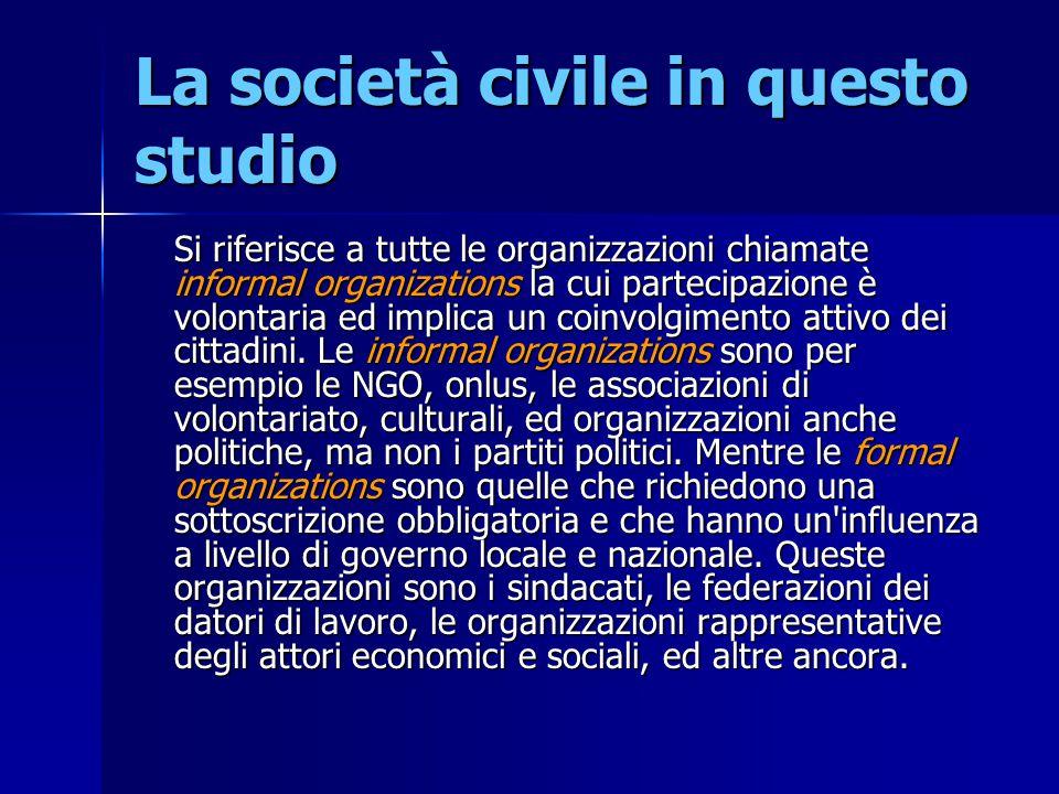 La società civile in questo studio