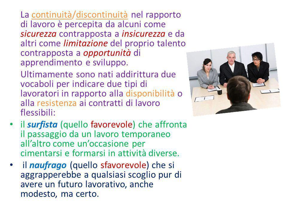 La continuità/discontinuità nel rapporto di lavoro è percepita da alcuni come sicurezza contrapposta a insicurezza e da altri come limitazione del proprio talento contrapposta a opportunità di apprendimento e sviluppo.