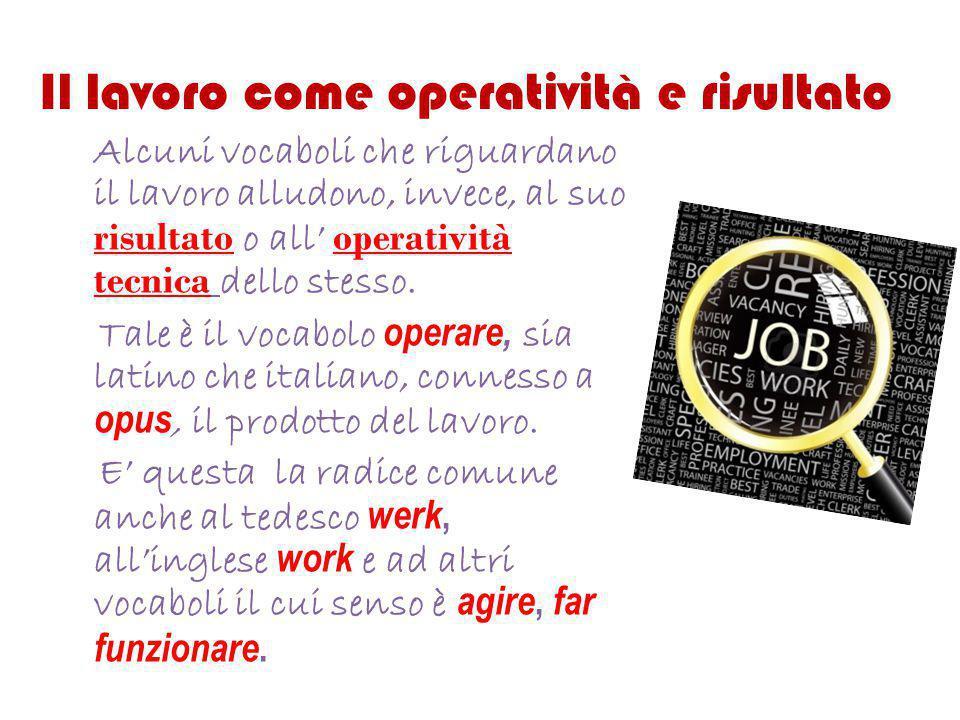 Il lavoro come operatività e risultato