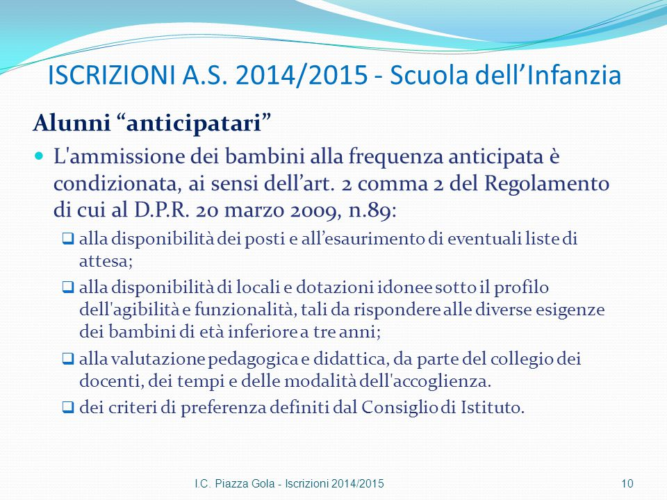 ISCRIZIONI A.S. 2014/2015 - Scuola dell'Infanzia