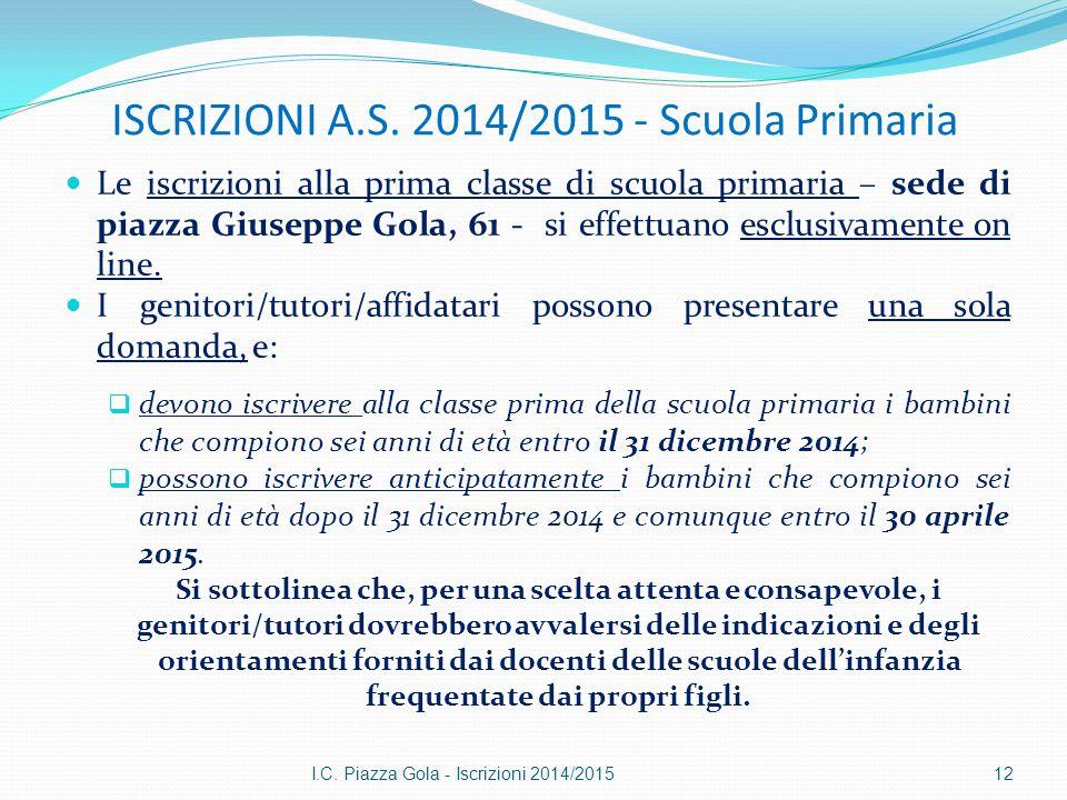 ISCRIZIONI A.S. 2014/2015 - Scuola Primaria