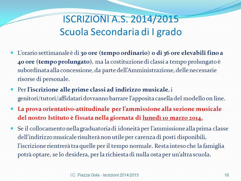ISCRIZIONI A.S. 2014/2015 Scuola Secondaria di I grado