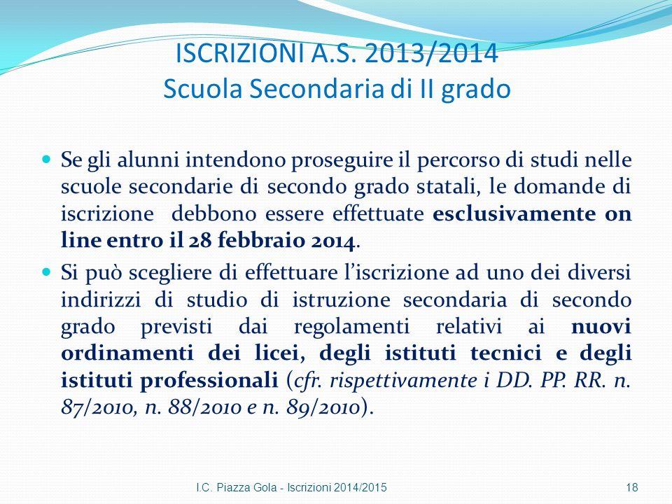 ISCRIZIONI A.S. 2013/2014 Scuola Secondaria di II grado