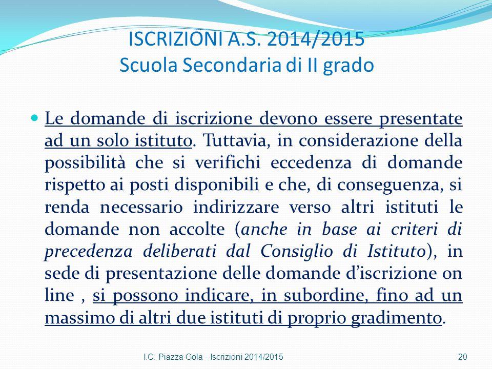 ISCRIZIONI A.S. 2014/2015 Scuola Secondaria di II grado