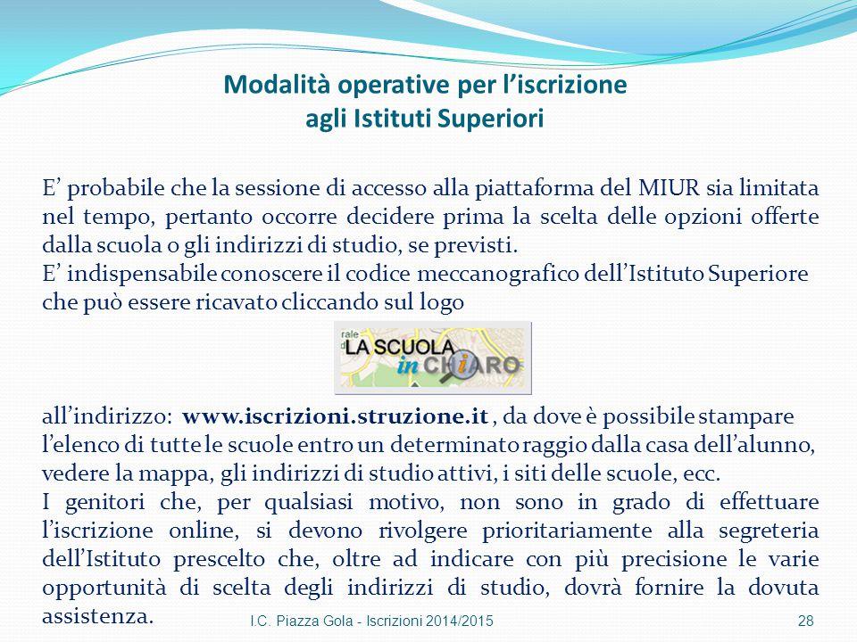 Modalità operative per l'iscrizione agli Istituti Superiori