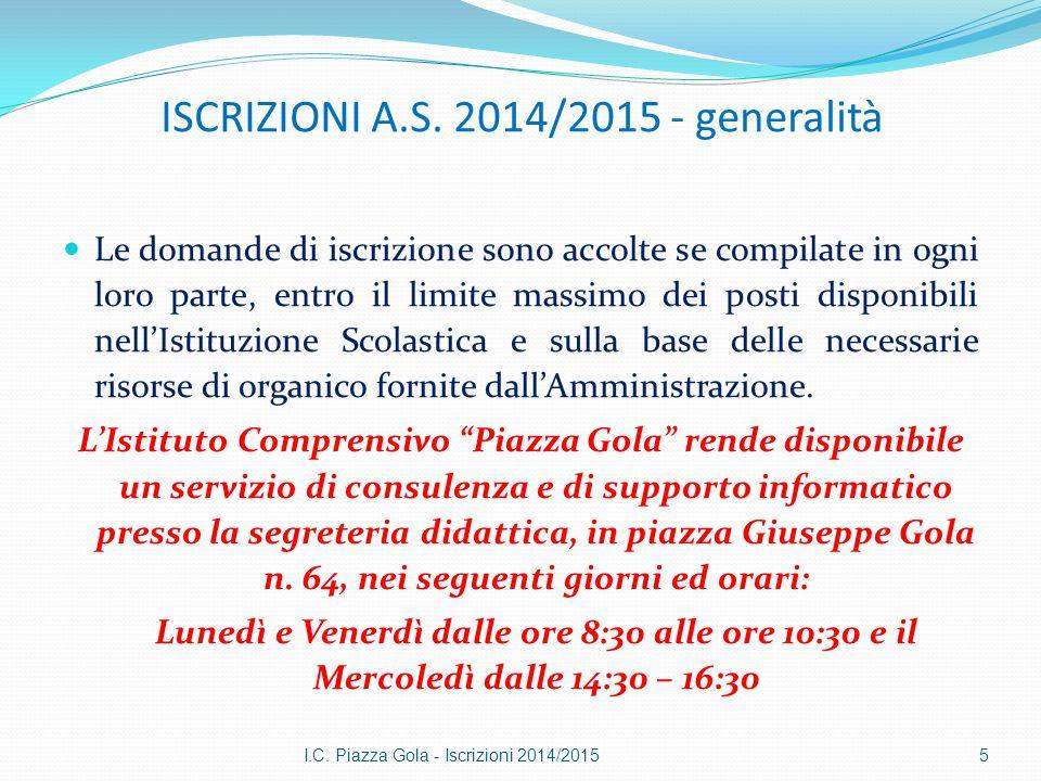 ISCRIZIONI A.S. 2014/2015 - generalità