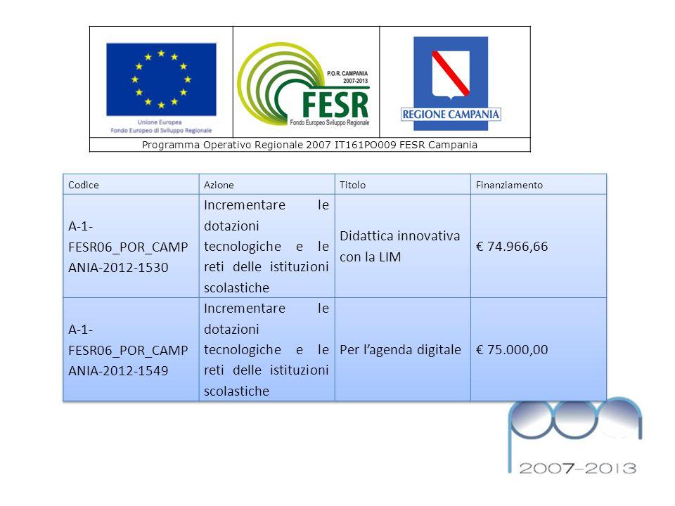 Programma Operativo Regionale 2007 IT161PO009 FESR Campania