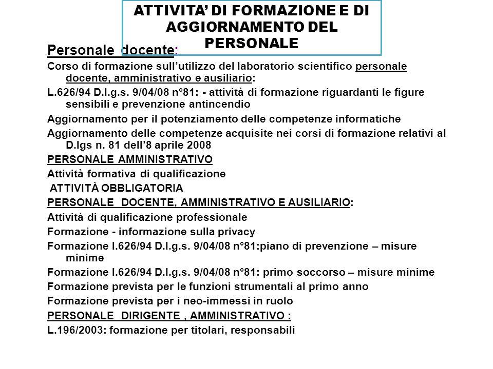 ATTIVITA' DI FORMAZIONE E DI AGGIORNAMENTO DEL PERSONALE
