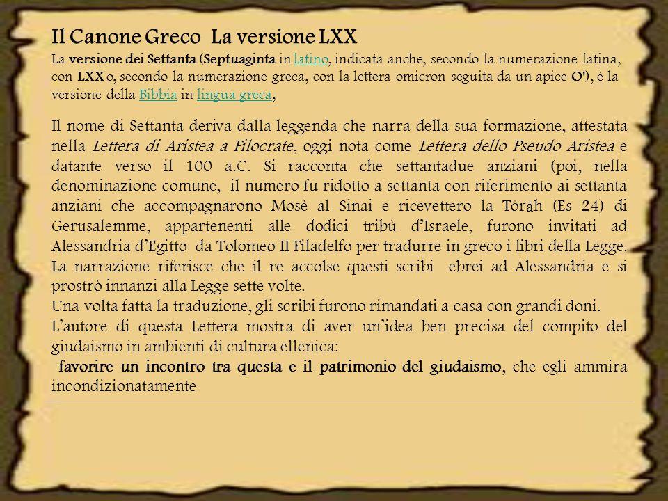 Il Canone Greco La versione LXX