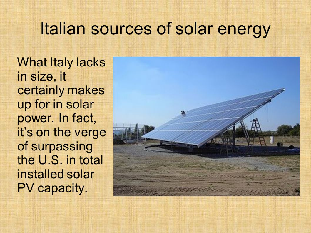 Italian sources of solar energy