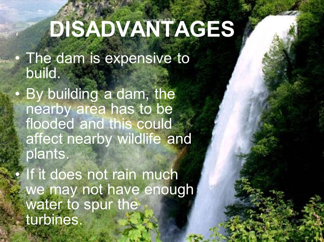 DISADVANTAGES The dam is expensive to build.